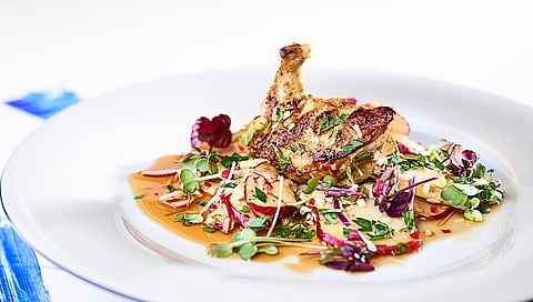 Poussin breast with Styrian apple and onion salad
