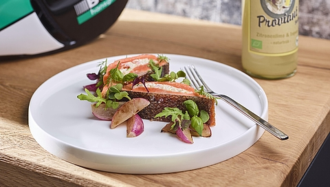 Grilled rainbow trout with quinoa, roast radish and wild herbs