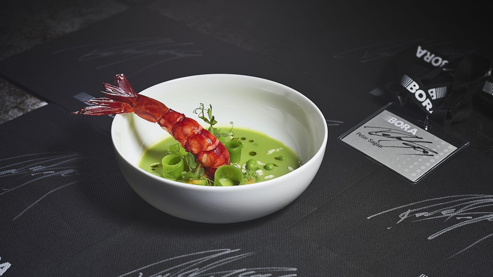 pea and matcha tea soup with grilled prawns