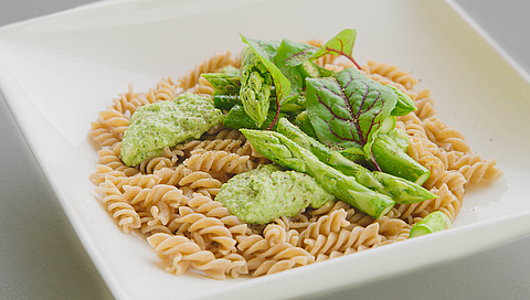 Spelt pasta with asparagus two ways