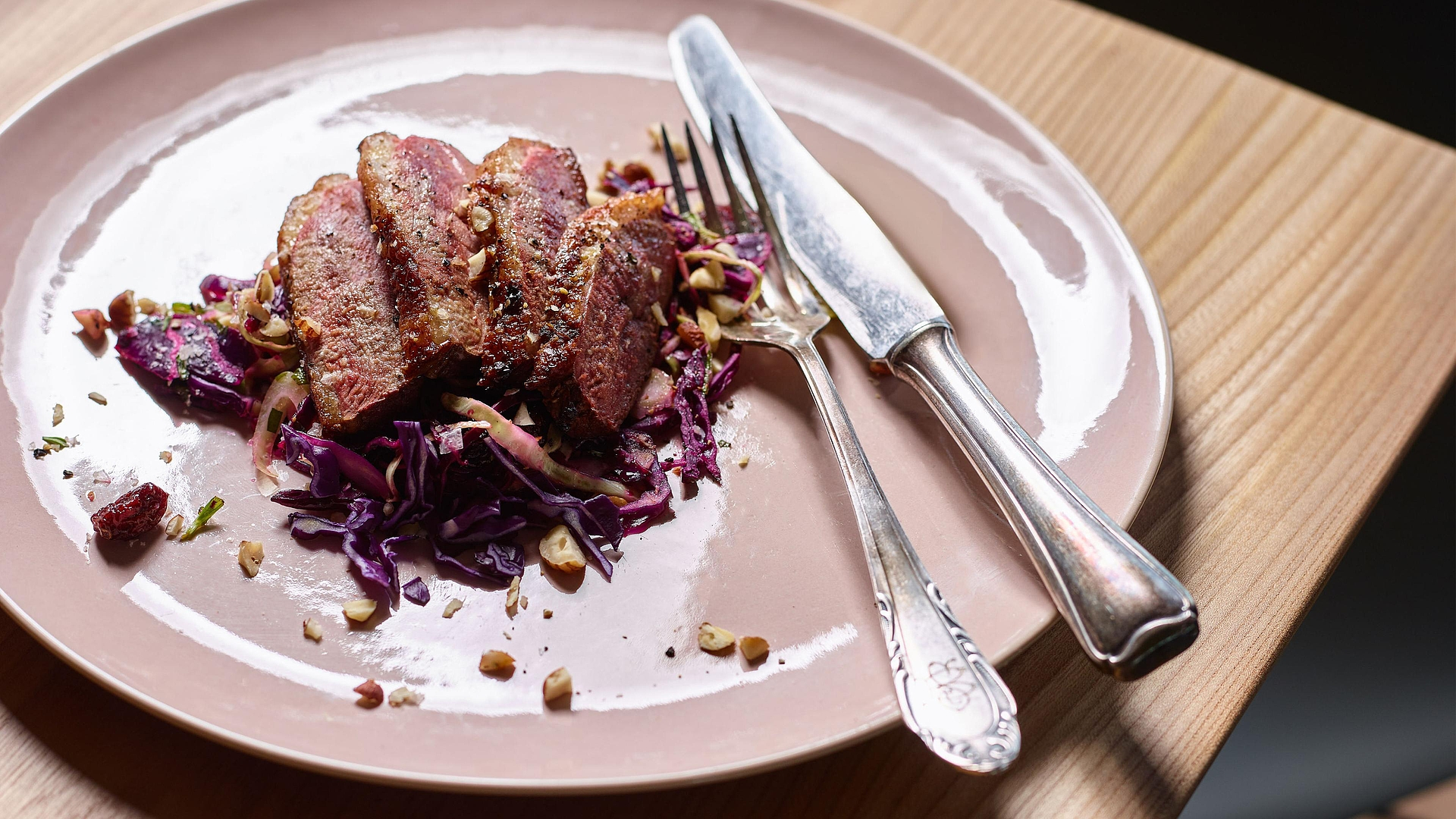 Duck breast on red cabbage salad