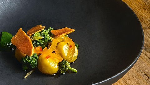 Buffalo ricotta gnocchi with broccoletto, chilli and candied apricots