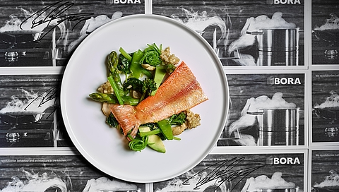 "Five ""greens"" with buckwheat and golden trout"