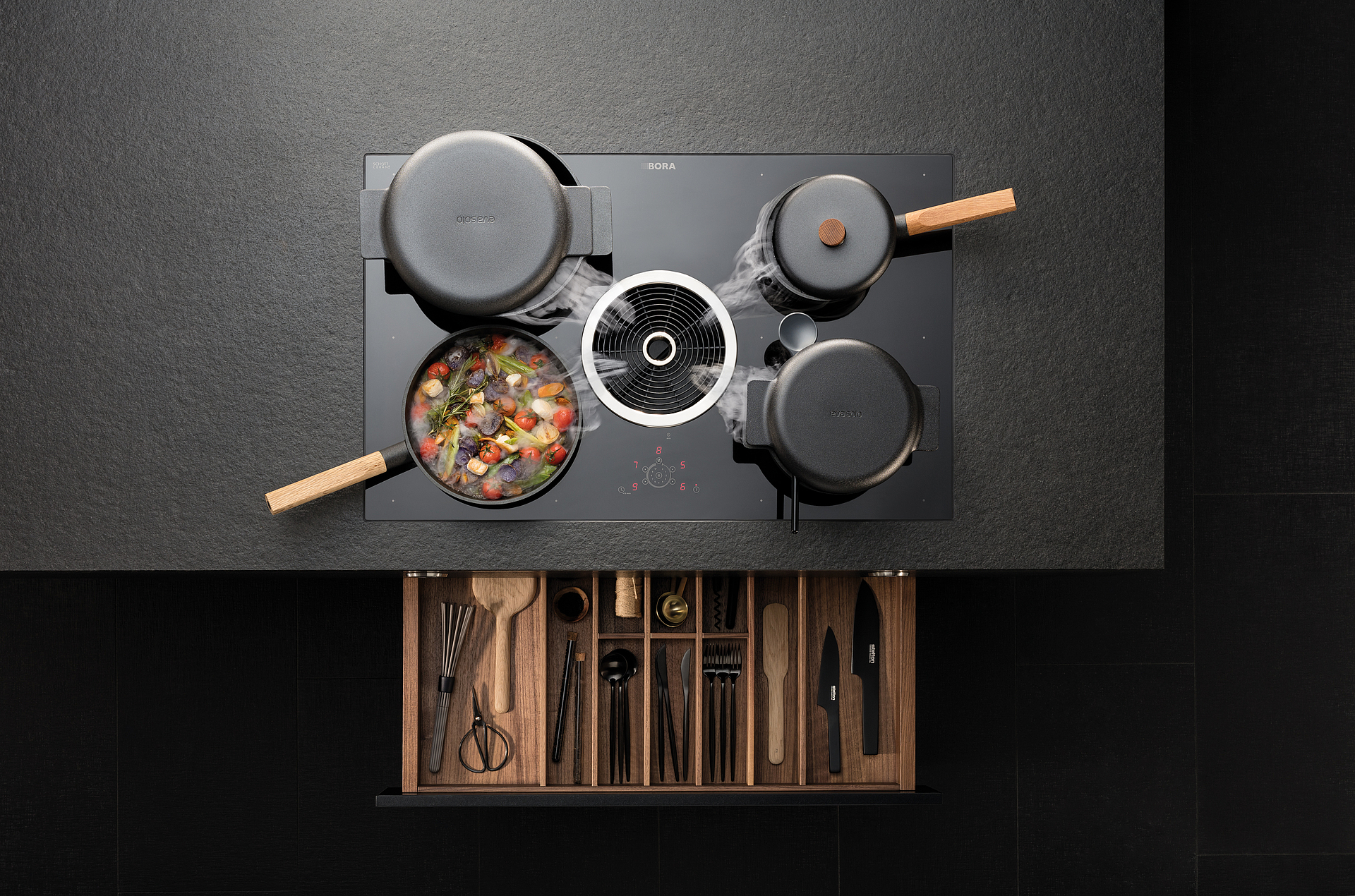 Surface induction cooktop