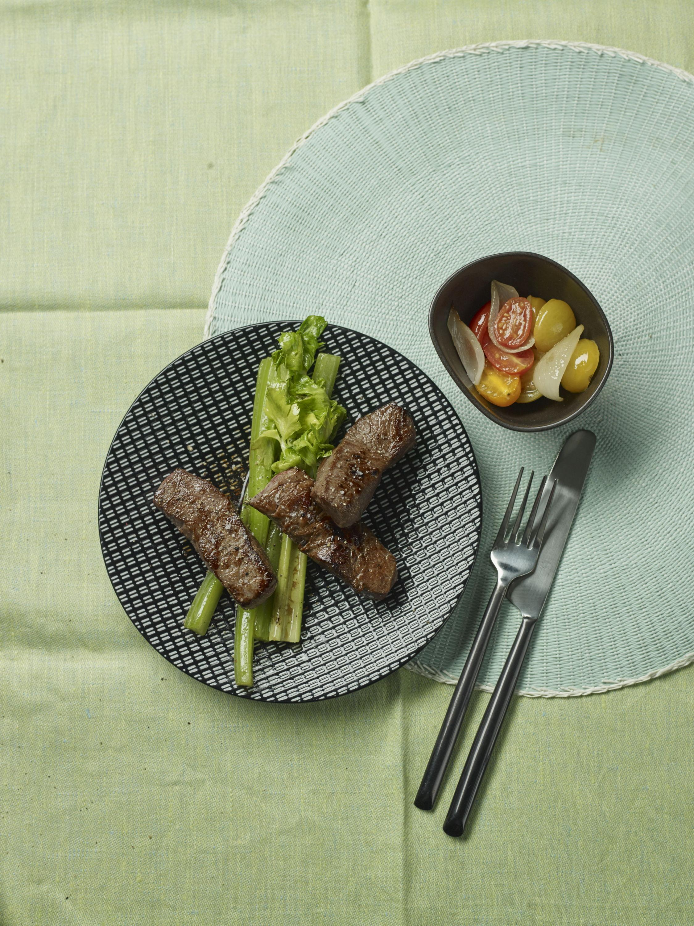 Beef sticks with celery and grilled tomatoes from the 10 | 10 retailer edition