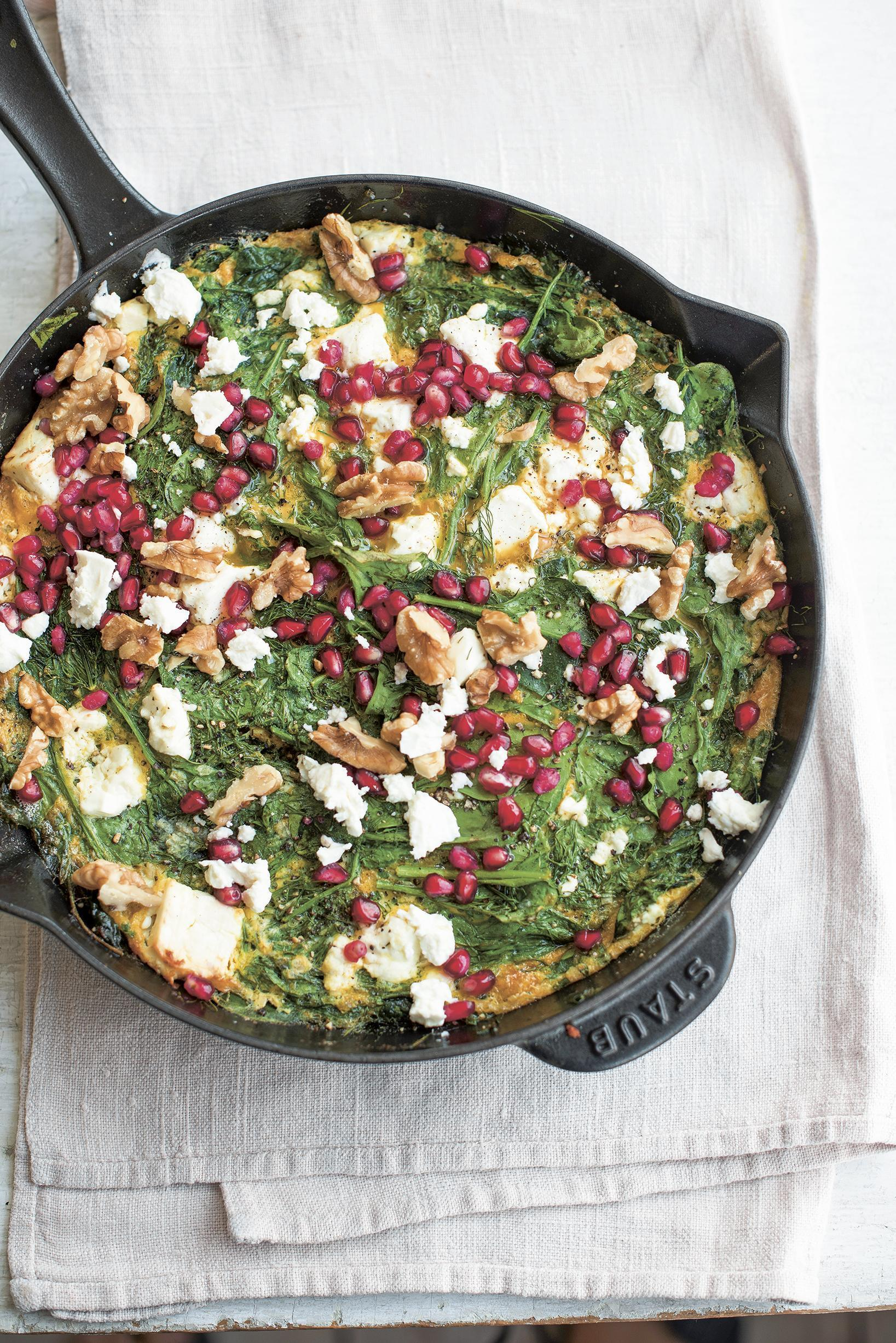 Herby spinach and feta frittata