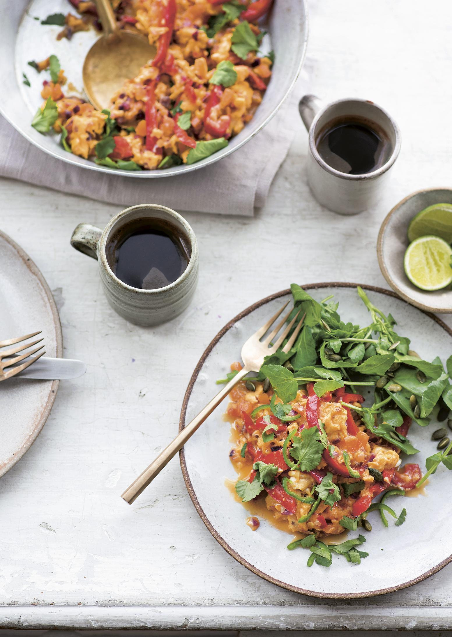 Mexican scrambled eggs with watercress and seed salad