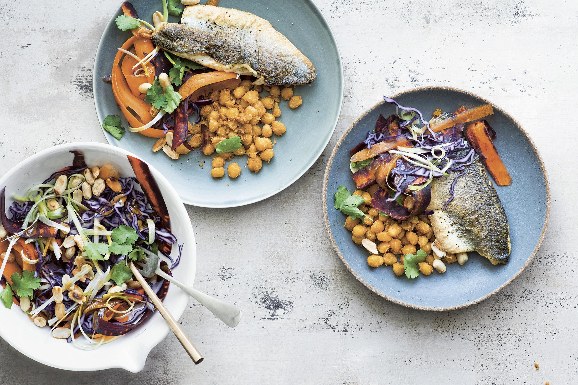 Sea bass with a sesame chickpea cabbage slaw