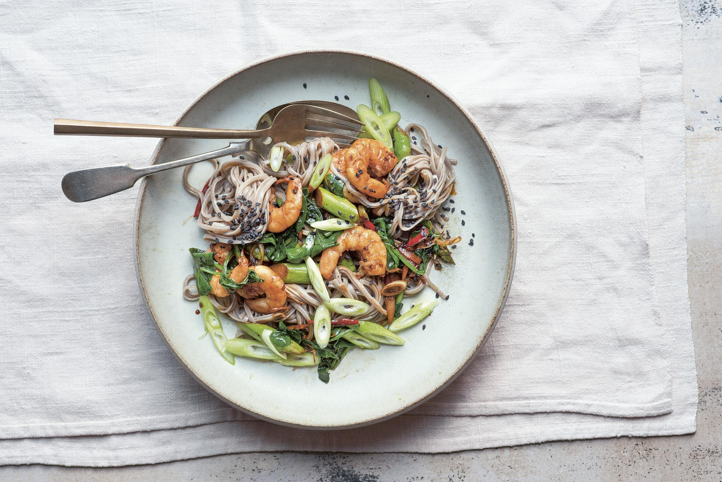 Asparagus, prawn and lemon grass stir fry with soba noodles