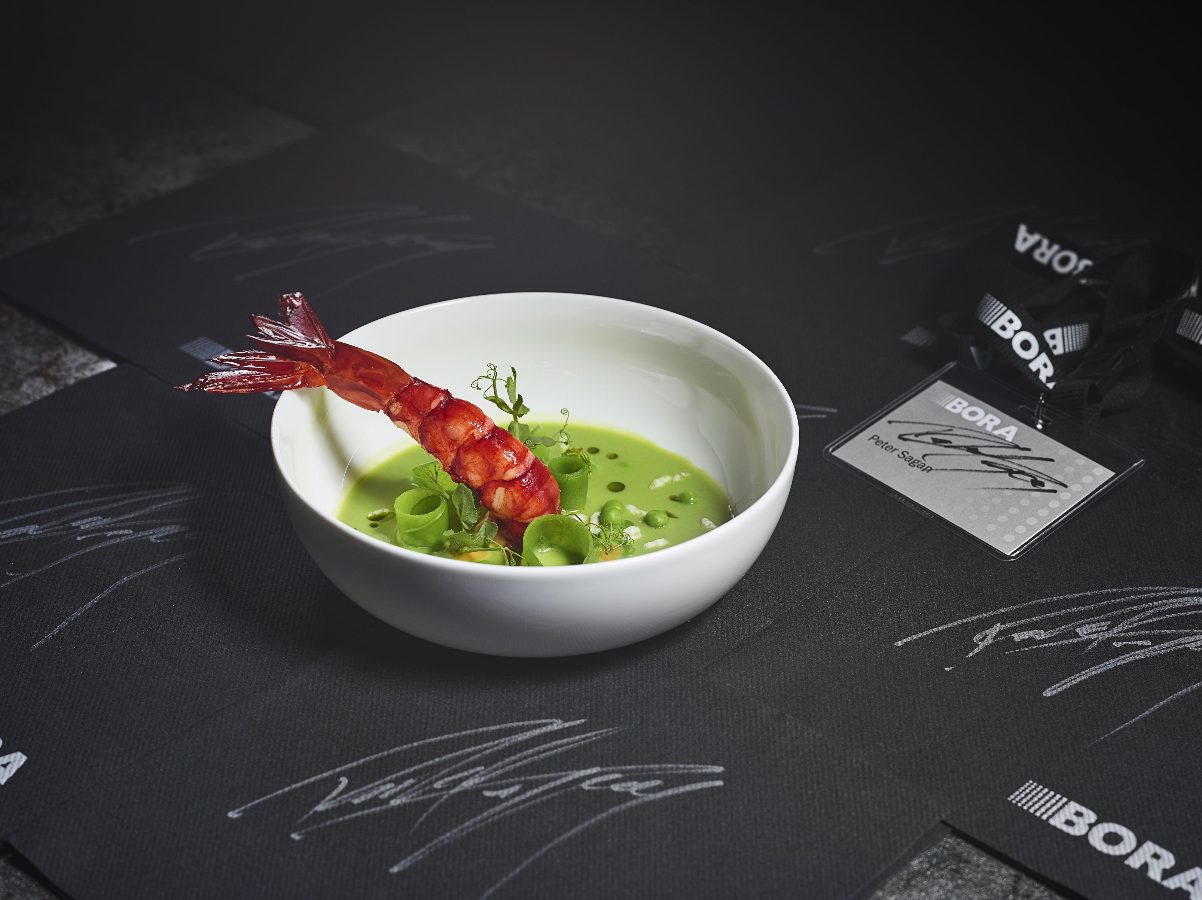 Pea & matcha tea soup with grilled prawns