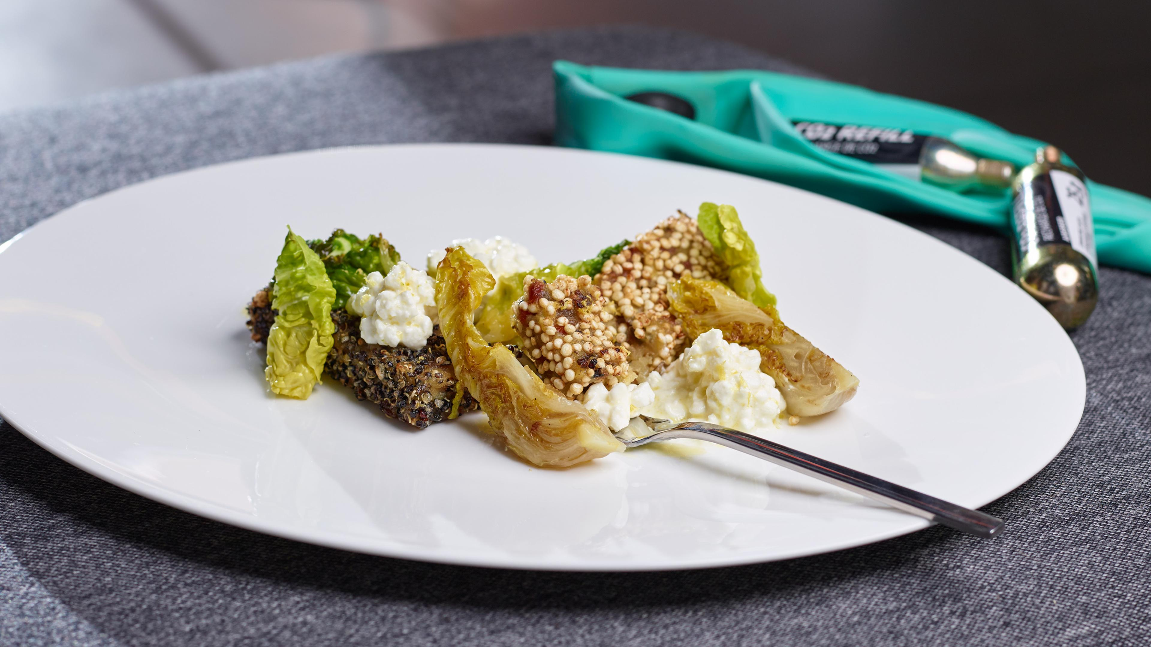 Roast muesli bars with roast lettuce hearts