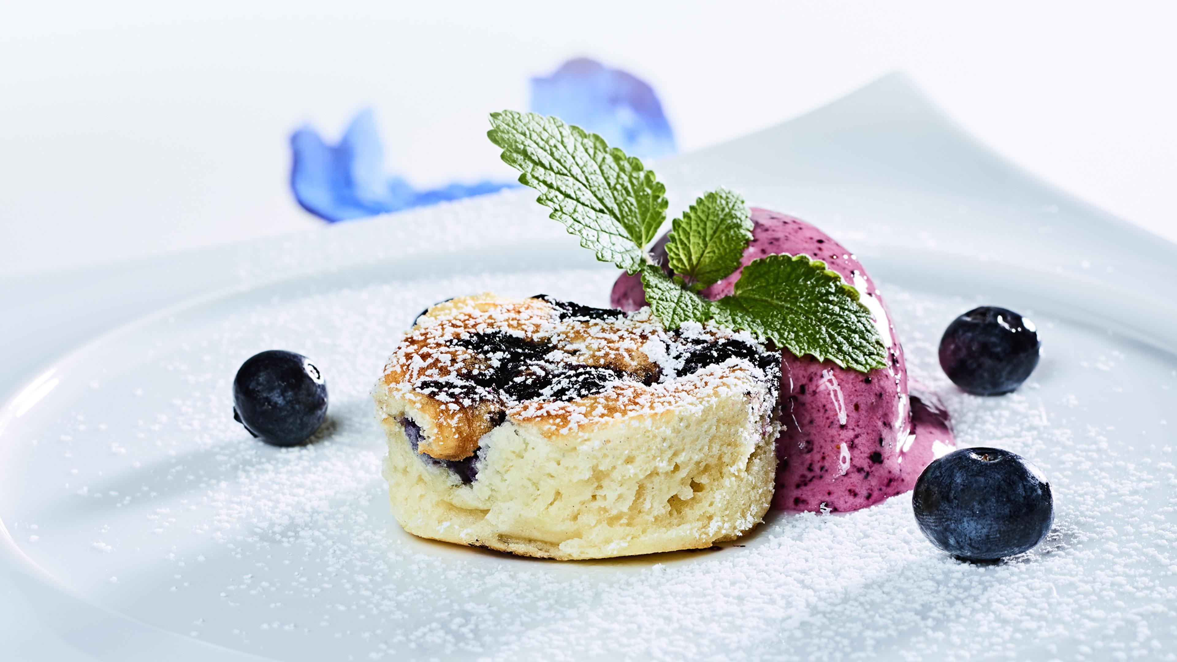 Buttermilk pancakes with quick blueberry ice cream