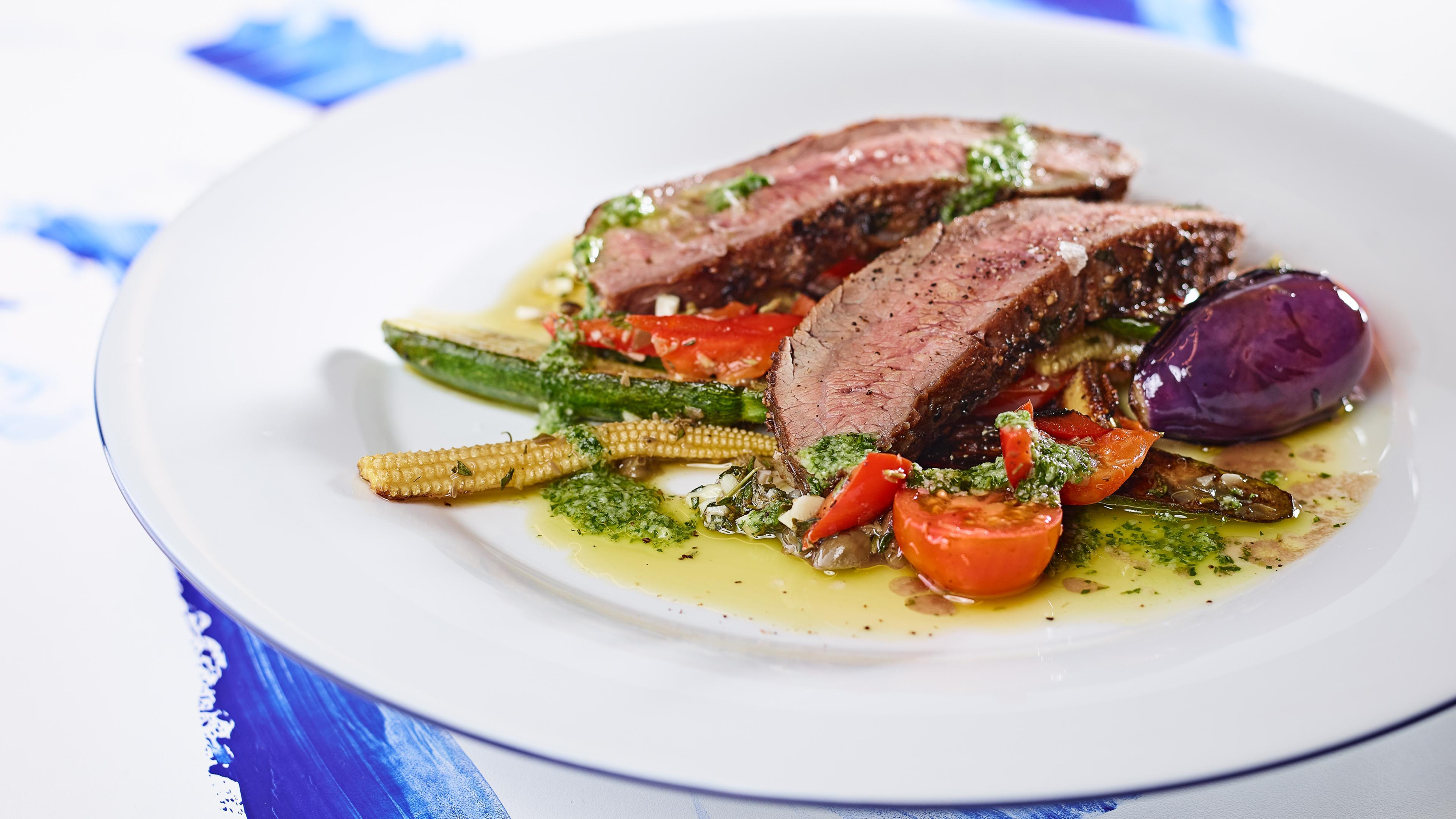 Grilled vegetables with flank steak and pesto